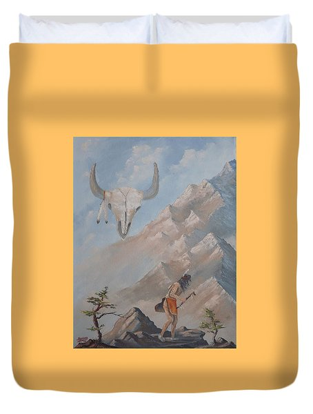 Duvet Cover featuring the painting Buffalo Dancer by Richard Faulkner