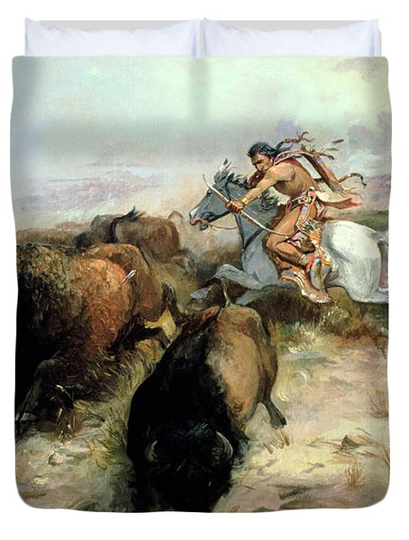 Buffalo Hunt Duvet Cover by Charles Marion Russell