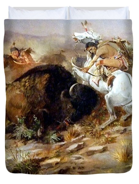 Buffalo Hunt Duvet Cover by Charles Russell