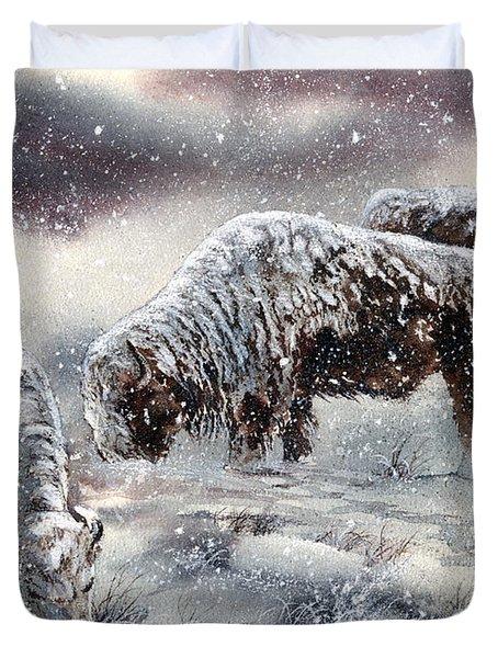 Buffalo In Snow Duvet Cover