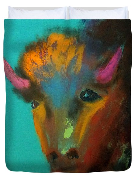 Duvet Cover featuring the painting Buffalo by Keith Thue