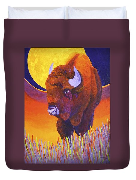 Duvet Cover featuring the painting Buffalo Moon by Nancy Jolley
