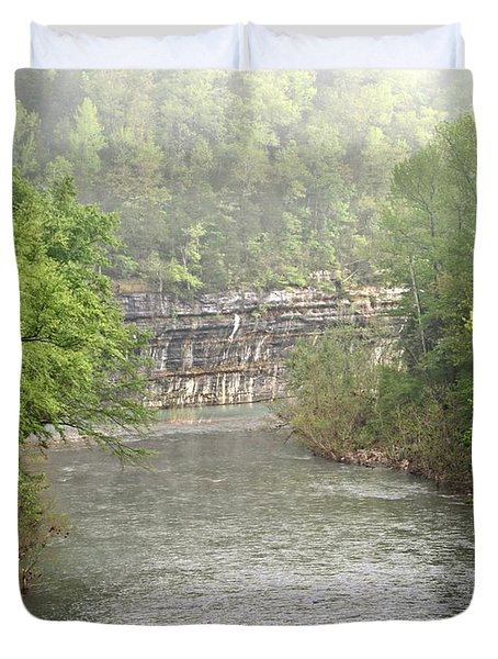 Buffalo River Mist Horizontal Duvet Cover by Marty Koch