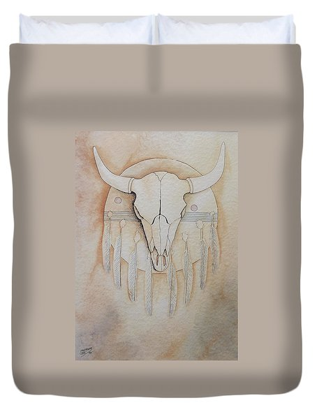 Duvet Cover featuring the painting Buffalo Shield by Richard Faulkner