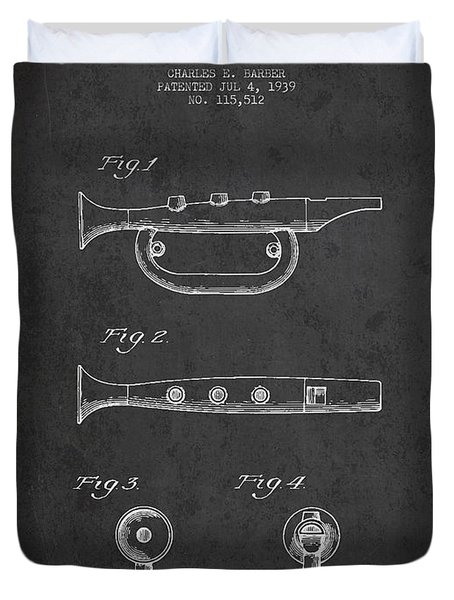 Bugle Call Instrument Patent Drawing From 1939 - Dark Duvet Cover by Aged Pixel