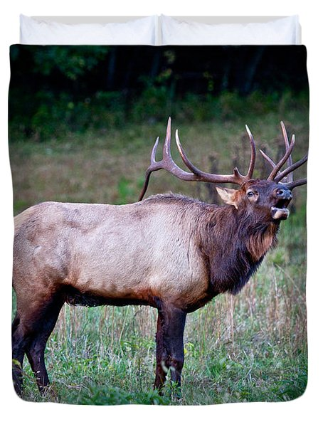 Duvet Cover featuring the photograph Bugle Solo From Bull Elk by John Haldane