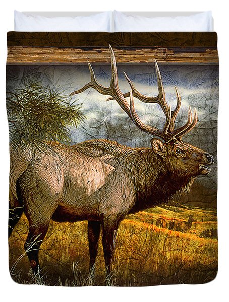 Bugling Elk Duvet Cover by JQ Licensing
