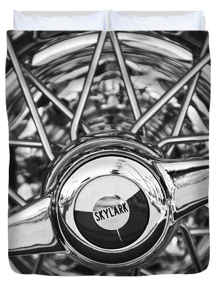Buick Skylark Wheel Black And White Duvet Cover by Jill Reger