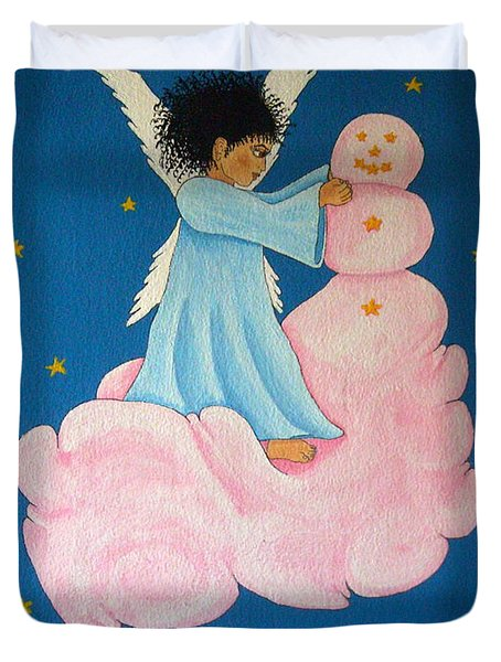 Building A Cloudman Duvet Cover by Pamela Allegretto