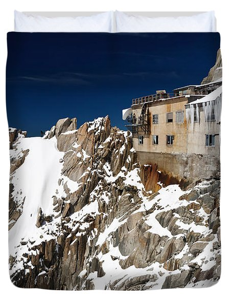 Duvet Cover featuring the photograph building in Aiguille du Midi - Mont Blanc by Antonio Scarpi