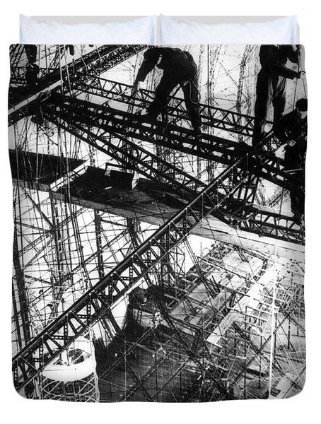 Building Of The Hindenburg Duvet Cover