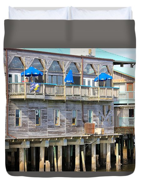 Building On Piles Above Water Duvet Cover