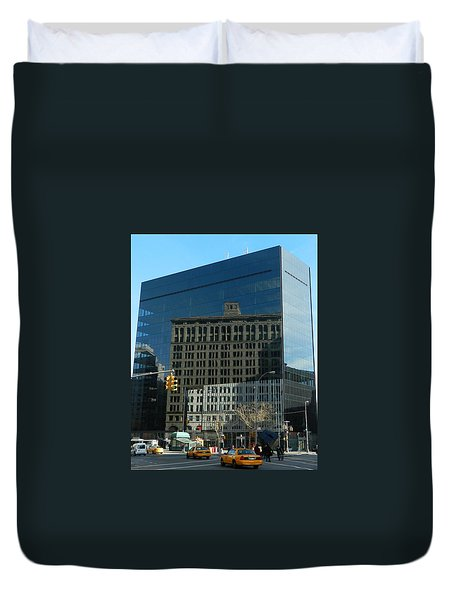 Duvet Cover featuring the photograph Building Reflections Nyc by Emmy Marie Vickers