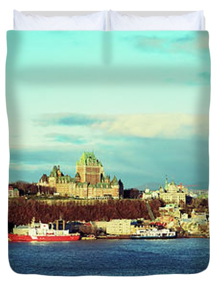 Buildings At The Waterfront, Quebec Duvet Cover