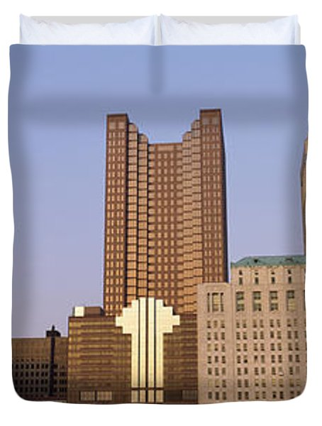Buildings In A City, Columbus, Franklin Duvet Cover