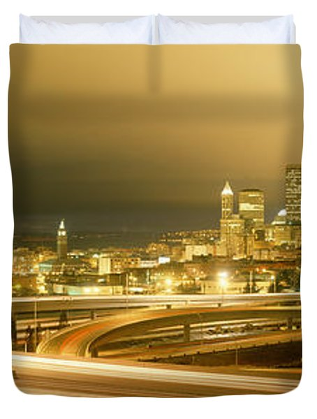 Buildings Lit Up At Night, Seattle Duvet Cover by Panoramic Images
