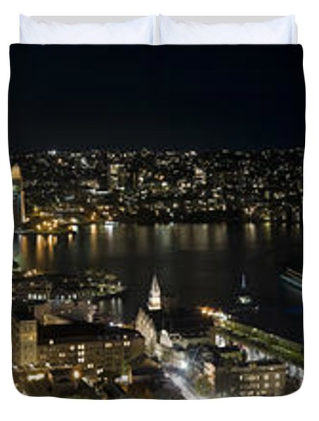 Buildings Lit Up At Night, Sydney, New Duvet Cover