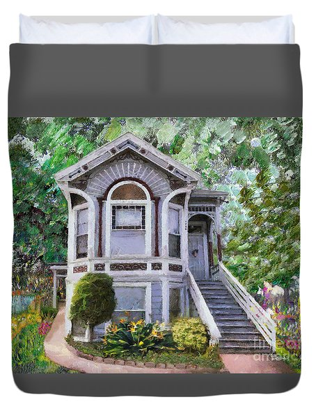 Alameda 1895 Queen Anne Duvet Cover by Linda Weinstock