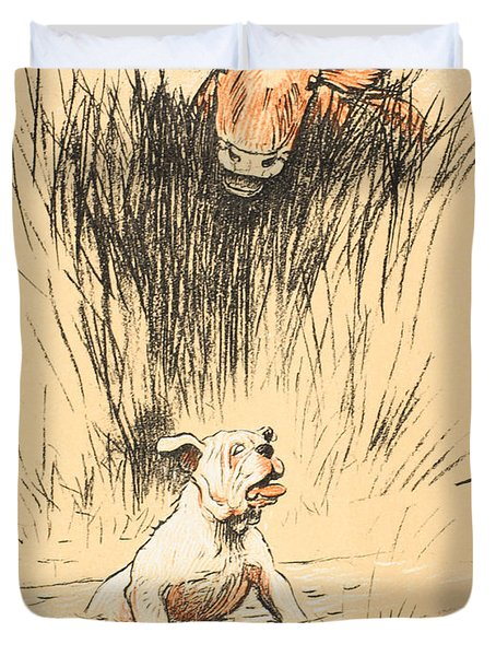 Bull And Dog In Field Duvet Cover by Cecil Charles Windsor Aldin