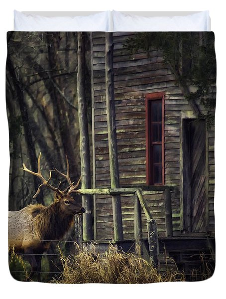 Bull Elk By The Old Boxley Mill Duvet Cover by Michael Dougherty