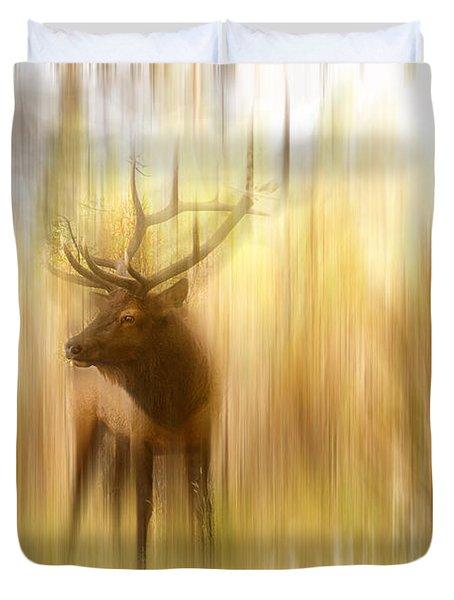 Bull Elk Forest Gazing Duvet Cover