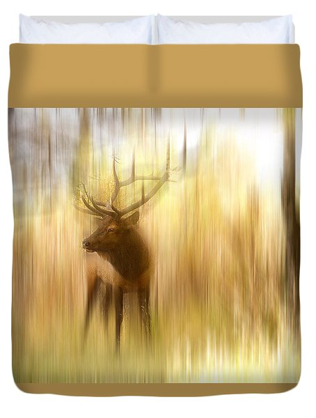 Bull Elk Forest Gazing Duvet Cover