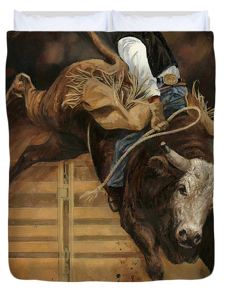 Bull Riding 1 Duvet Cover by Don  Langeneckert
