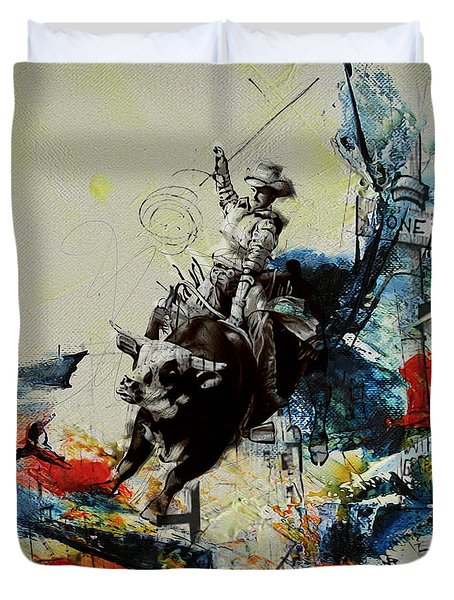 Bull Rodeo 02 Duvet Cover by Corporate Art Task Force