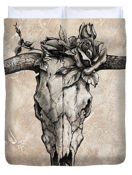 Bull Skull And Rose Duvet Cover