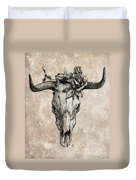 Bull Skull And Rose Duvet Cover