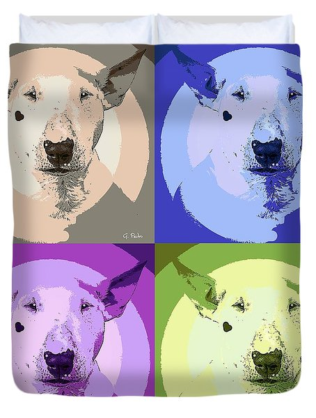 Bull Terrier Pop Art Duvet Cover by George Pedro