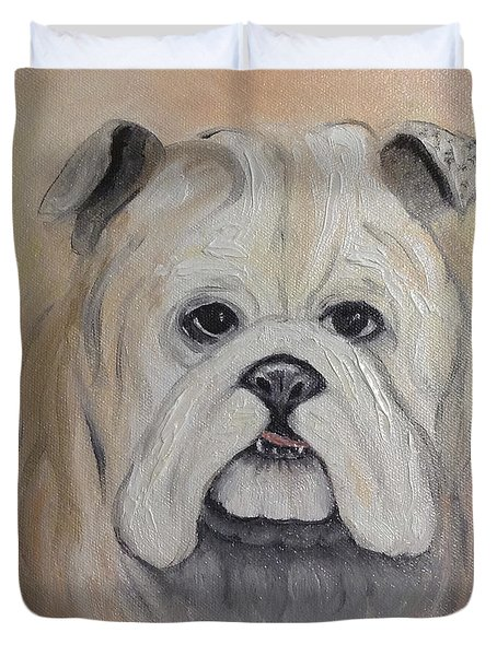 Duvet Cover featuring the painting Bulldog by Karen Zuk Rosenblatt