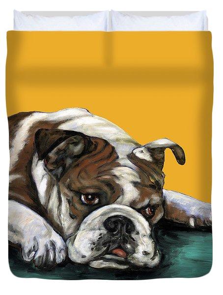 Bulldog On Yellow Duvet Cover