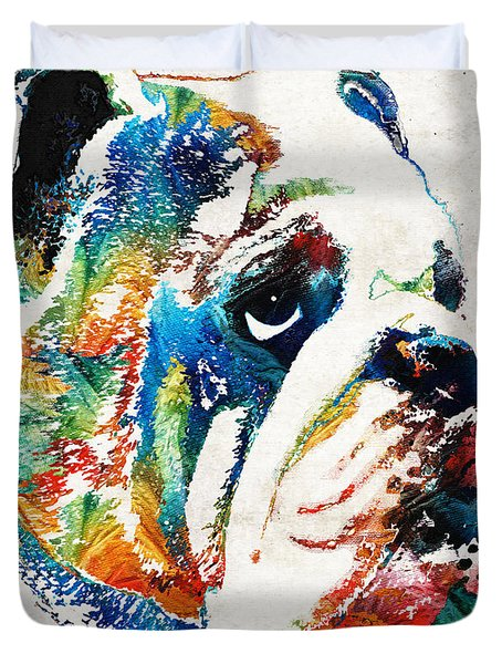 Bulldog Pop Art - How Bout A Kiss - By Sharon Cummings Duvet Cover by Sharon Cummings