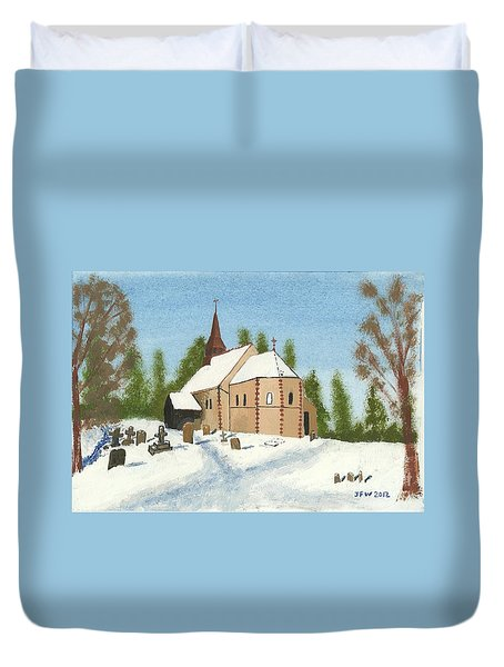 Duvet Cover featuring the painting Bulley Church by John Williams