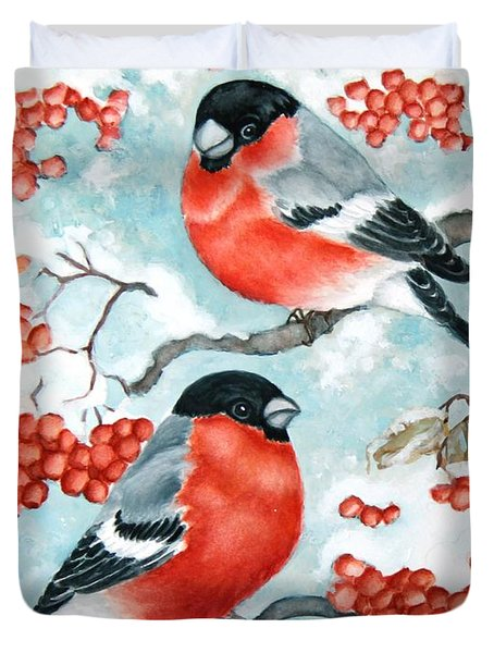 Bullfinch Couple Duvet Cover