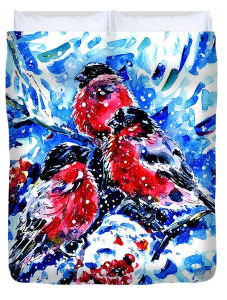 Bullfinches Duvet Cover by Zaira Dzhaubaeva
