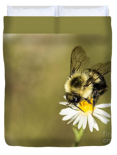 Bumble Bee Macro Duvet Cover by Debbie Green