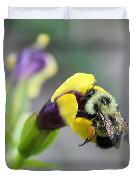Duvet Cover featuring the photograph Bumble Bee Making A Wish by Penny Meyers