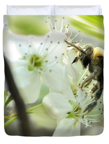 Bumble Bee On Flower Duvet Cover by Dan Friend