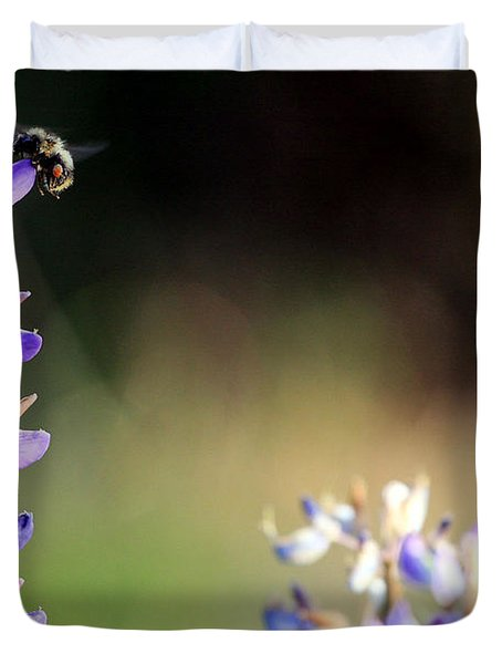 Bumble Bee On Lupine Duvet Cover
