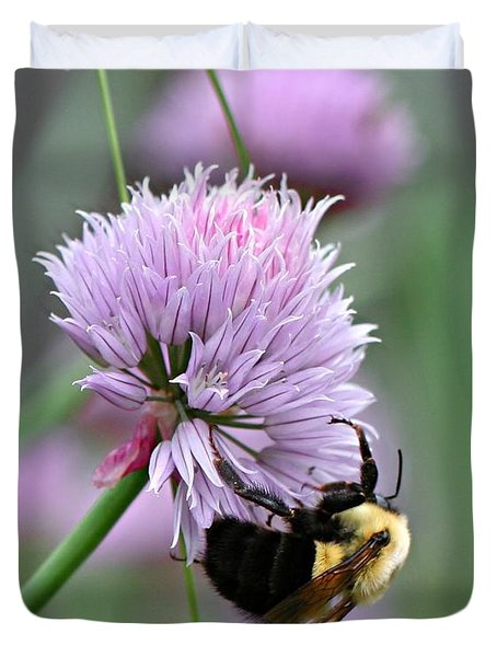 Duvet Cover featuring the photograph Bumblebee On Clover by Barbara McMahon
