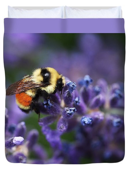 Duvet Cover featuring the photograph Bumblebee On Lavender by Rona Black