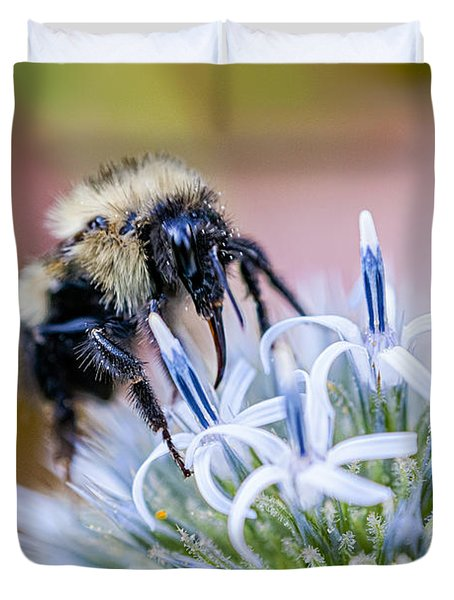 Bumblebee On Thistle Blossom Duvet Cover