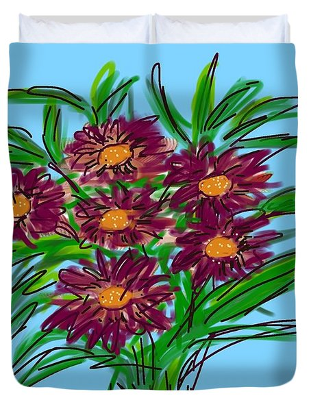 Duvet Cover featuring the digital art Bunch Of Daisies by Christine Fournier