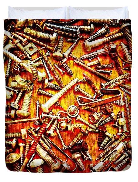 Bunch Of Screws 4 - Digital Effect Duvet Cover by Debbie Portwood