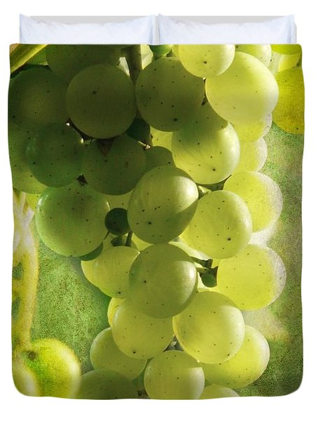 Bunch Of Yellow Grapes Duvet Cover by Barbara Orenya