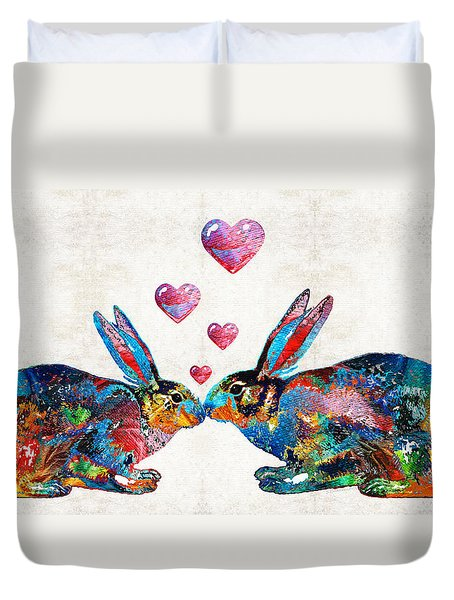 Bunny Rabbit Art - Hopped Up On Love - By Sharon Cummings Duvet Cover by Sharon Cummings