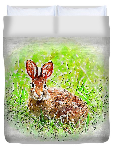Bunny - Watercolor Art Duvet Cover by Kerri Farley