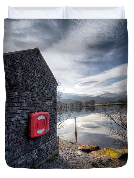 Buoy At Lake Duvet Cover by Adrian Evans